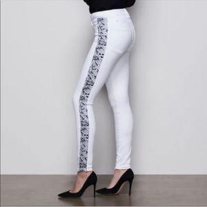 Good American Good Legs White Snake Stripe Jeans